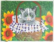 Cat Folk Art Naive Outsider Painting Gray In Basket Sunflowers Ashley Friday
