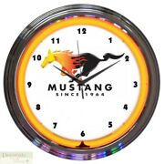 Ford Mustang Since 1964 Orange 15 Neon Wall Clock Glass Face Chrome Plate New