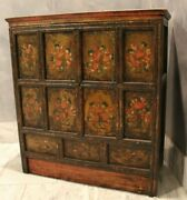 Vintage Asian Early 19th Century Hand Painted Spice Cabinet Dresserandnbsp
