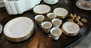 Lenox Eternal Dimension Collection White And Gold New Dinner Matching Set
