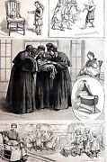 Sisters Of Charity 1883 Foundling Asylum Infant Nursery Matted Antique Art Print