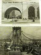 Brooklyn Bridge Archway Cable 1883 Antique Print Matted