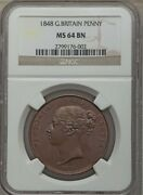 Great Britain Victoria 1848 1 Penny Coin Uncirculated Certified Ngc Ms64-bn