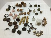 Mixed Lot Antique Vintage Cabinet Drawer Knobs Hardware Wood Brass Glass
