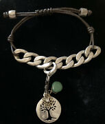 Fossil Leather Fastening Chained Bracelet Silver And Brown With Charm