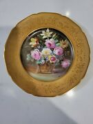 1 Pickard Artist A. Rhodes Hand Painted Floral Plates Gold Embossed
