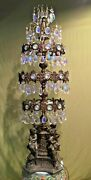 Antique Brass Cherub Standing Crystal Chandelier Lamp 47 Tall With 312 Crystals