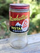 Vintage Manhattan Instant Coffee Glass Jar 1950s 60and039s St. Louis Advertisement