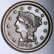 1849 Braided Hair Large Cent Penny Choice Au++/unc Free Shipping E101 Tcmw