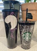 Starbucks Halloween 2021 Glow In The Dark Spider Webs And Cat Tumblers 2 Cups