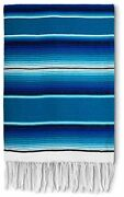 Authentic Large Mexican Blanket   Large Serape Blanket   Mexican Blankets Blue