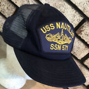 Uss Nautilus Ssn 571 Mesh Foam Embroidered Patch Snapback Hat Cap Vtg Made Usa