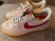 Vintage 2005 Nike Air Force 1 Red Rose Hearts White Sneakers Sz 8.5 307109-165