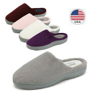 Womens Memory Foam Slippers Fuzzy Slip On Indoor Outdoor House Slippers