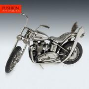 Superb 20thc Italian Solid Silver Model Of A Harley Davidson Motorcycle C.1970