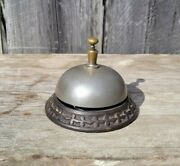 Antique Victorian Cast Iron And Brass Counter Call Bell Hotel Store Vintage