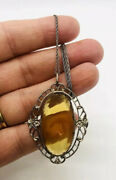 Art Deco Faceted Amber Glass Necklace Sterling Silver Chain Vintage Jewelry