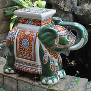 Porcelain Plant Stand Garden Stool Ceramic Elephant Accent Table Asian Green