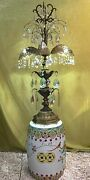 Antique Gothic Crystal Lamp Table Standing Chandelier 41 Tall With 151 Crystals