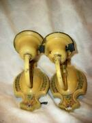 Antique 1920s Art Deco Buttery Creamy Cold Painted Sconce Wall Lamps Original