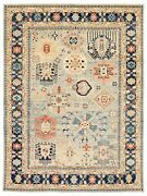 Vintage Geometric Hand-knotted Carpet 8and0399 X 11and03911 Traditional Wool Area Rug