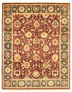 Vintage Hand-knotted Carpet 8'0 X 10'3 Traditional Dark Red Wool Area Rug