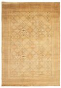 Vintage Geometric Hand-knotted Carpet 9and0397 X 13and0398 Traditional Wool Area Rug