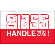 3 X 5 Glass Handle With Care Labels Red/white 5000 Pcs