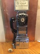 Vintage Independent Telephone 3 Slot Pay Phone Complete With Top Sign And Key