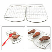Stainless Steel Bbq Grilling Basket Fish Chicken Steak Foldable Grill Net