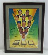 500 Hr Signed Framed 18x24 Photo Mickey Mantle Hank Aaron Ted Williams +8 Jsa Xx
