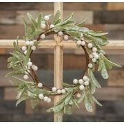 13 Inch Frosted Mistletoe Christmas Holiday Wreath
