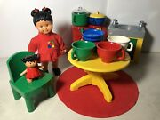 Lego Duplo Doll Sarah 2001 Stove Table/chair Sink Baby Doll Dishes/pot Misc.