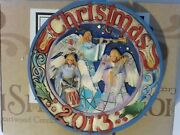 Jim Shore 4034387 Dated 2013 Triple Angel Round Christmas Ornament And Box