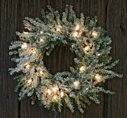 13 Inch Frosted Pine Lighted Christmas Holiday Wreath