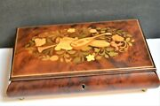 Music Box Italian Hand Crafted Burl Wood Inlay Jewelry Plays Unchained Melody