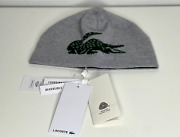 New Lacoste Reversible Big Croc Jacquard Knit Beanie In Grey/green Wool France