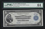 Us 1918 5 Frbn Cleveland Fr 785 Pmg 64 Ch Cu 218 Low Serial D218a