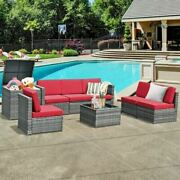 Dur8 Piece Wicker Sofa Rattan Dinning Set Patio Furniture With Storage Table-red