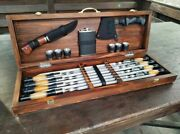 A Set Of Stainless Steel Skewers In A Wooden Box Grill A Set Of Barbecue Tools.