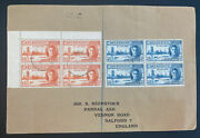 1947 Ascension Island Cover To Salford England Peace Stamp Issue Block