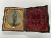 Civil War Union Officer Soldier W/ Sword Ambrotype Photo In Case