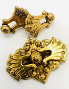Antique Victorian Revival Etruscan Brooch And Earrings Demi Vintage Jewelry