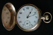 Barker Brothers 9ct Gold Full Hunter Pocket Watch Black And White Face Dates 1905