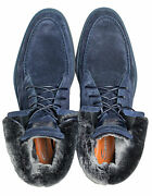 Santoni Ankle Boots In Dunkelblaut Made Of Suede And With Lambskin / Regeur650