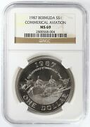 1987 Bermuda Commercial Aviation Silver Dollar Ngc Ms69 1