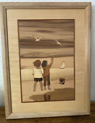 """Hudson River Inlay Wood Marquetry Children At The Beach Signed """"nelson"""""""