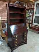 Chippendale Secretary, Antique Mahogany With Bookcase, Glass Front
