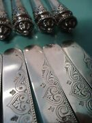 Rare 1872 Antique Sterling Silver Engraved Heart Knife Fork Cutlery Box Set Case