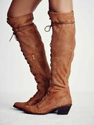 Free People 7 Oiled Suede Rust Jeffrey Campbell Joe Lace Up Boots Tobacco 37 Otk